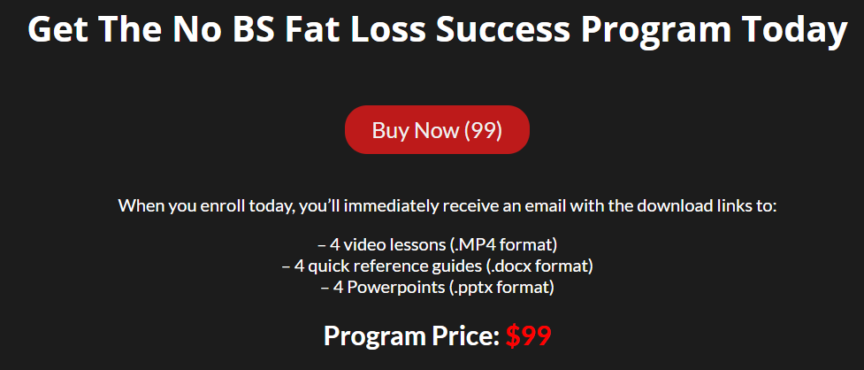No BS Fat Loss Success Review-price